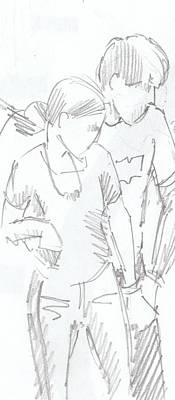 Drawing - Modern Jive Ceroc Dancing Couple Pencil Drawing by Mike Jory