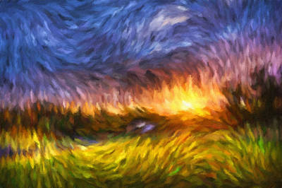 Modern Landscape Van Gogh Style Art Print by Georgiana Romanovna