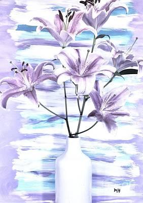 Shower Digital Art - Modern Lilies by Marsha Heiken