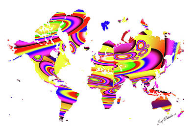 Digital Art - Modern Map Of The World Map by Sir Josef - Social Critic - ART