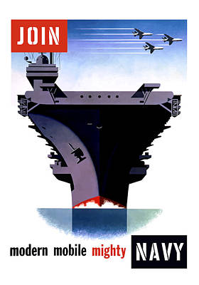 Us Propaganda Painting - Modern Mobile Mighty Navy by War Is Hell Store