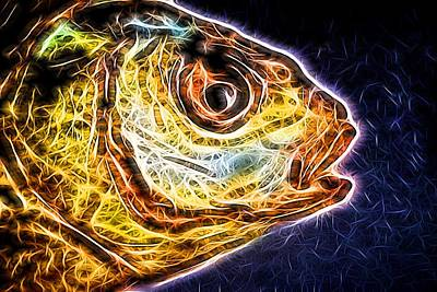 Photograph - Modern Neon Fish Head Abstract by John Williams