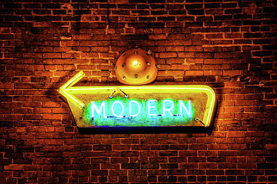 Photograph - Modern Neon Sign - Contemporary Architectural Art by Gregory Ballos