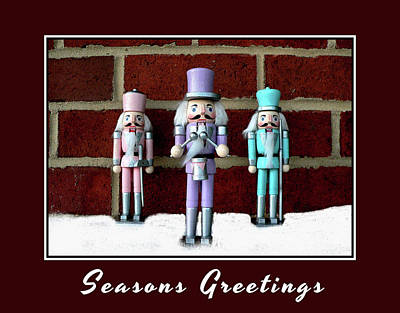 Photograph - Modern Nutcrackers With Brick Background by Kathy K McClellan