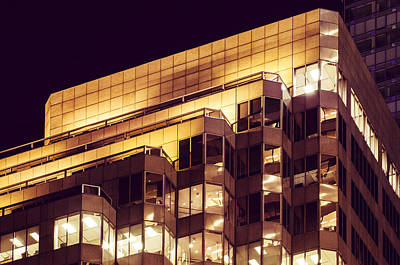 Photograph - Modern Office Structure Night Lit by Amyn Nasser