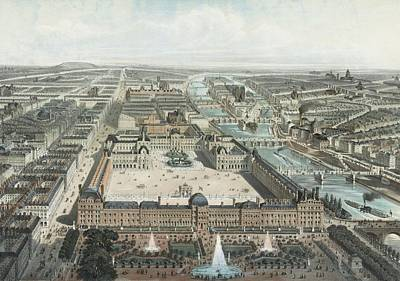 modern Paris. The Tuileries, the Louvre, and the Rue de Rivoli, view from the Garden Tuileries Art Print