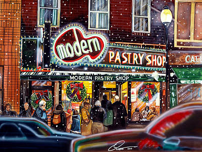 Shop Drawing - Modern Pastry Of Boston At Christmas by Dave Olsen