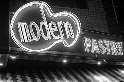 Modern Pastry Shop Boston Ma North End Hanover Street Neon Sign Black And White Art Print