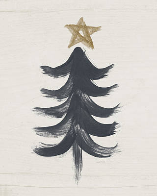 Modern Primitive Black And Gold Tree 1- Art By Linda Woods Art Print