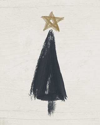 Holidays Painting - Modern Primitive Black And Gold Tree 3- Art By Linda Woods by Linda Woods