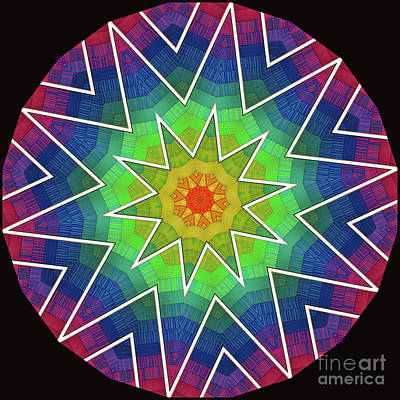 Digital Art - Modern Rainbow Colored Kaleidoscope 6 by Amy Cicconi