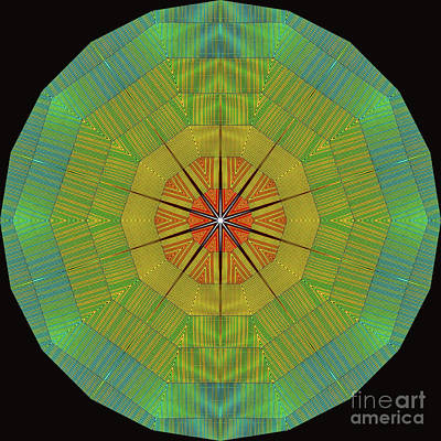 Digital Art - Modern Rainbow Colored Kaleidoscope 7 by Amy Cicconi