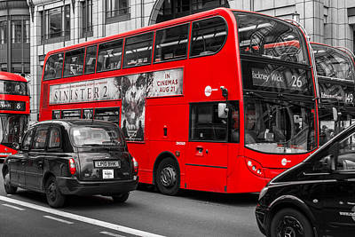 Photograph - Modern Red Buses And Black Cabs In London Bishopsgate by John Williams