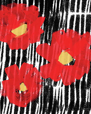 Modern Abstract Mixed Media - Modern Red Flowers- Art By Linda Woods by Linda Woods