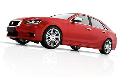 Modern Red Metallic Sedan Car In Spotlight. Generic Desing, Brandless. Art Print