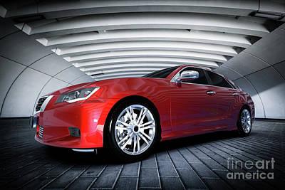 Design Photograph - Modern Red Metallic Sedan Car In Urban Setting - Tunnel. Generic Design, Brandless by Michal Bednarek