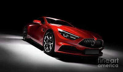 Photograph - Modern Red Sports Car In A Spotlight On A Black Background. by Michal Bednarek