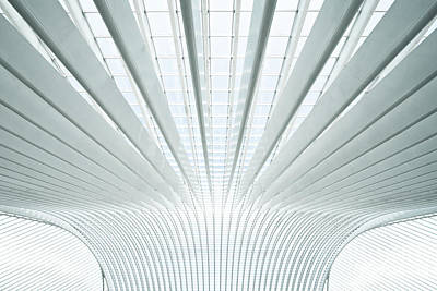 Modern Roof In Futuristic Interior With Concrete Arches In Perspective Art Print by Caio Caldas