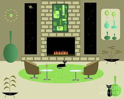 Digital Art - Modern Room In Greens And Tans by Donna Mibus