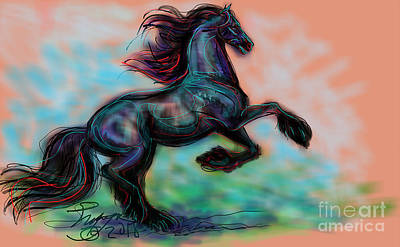 Digital Art - Modern Royal Friesian by Stacey Mayer