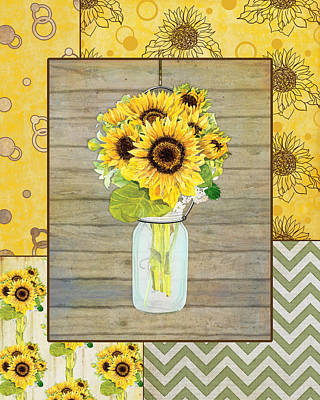 Dot Painting - Modern Rustic Country Sunflowers In Mason Jar by Audrey Jeanne Roberts