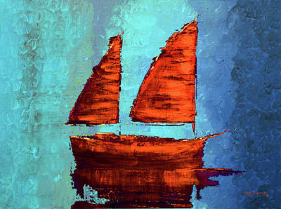 Tree Painting - Modern Sailboat Painting by Ken Figurski