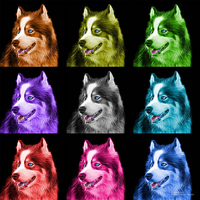 Painting - Modern Siberian Husky Dog Art - 6024 - Bb - M by James Ahn