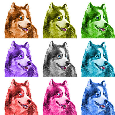 Painting - Modern Siberian Husky Dog Art - 6024 - Wb - M by James Ahn
