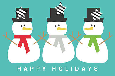 Modern Snowmen Happy Holidays- Art By Linda Woods Art Print by Linda Woods