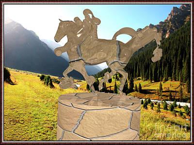 Statue Portrait Digital Art - Modern Statue Of A Horseman 31 by Pemaro