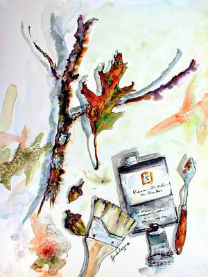 Painting - Modern Still Life Artist Tools Acorns Oak Leave  by Ginette Callaway