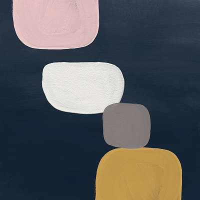 Modern Stones Navy 1- Art By Linda Woods Art Print