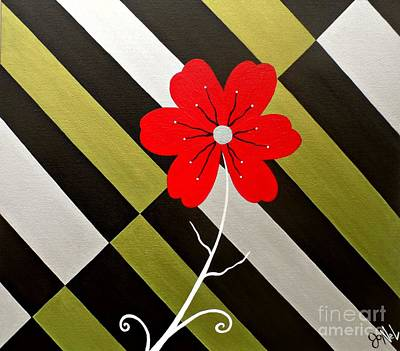Painting - Modern Striped Red Fancy Floral by JoNeL Art