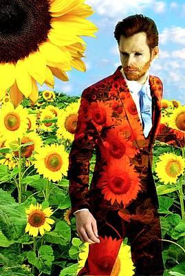 Sunflowers Drawings - Modern Van Gogh XI by Jose A Gonzalez Jr
