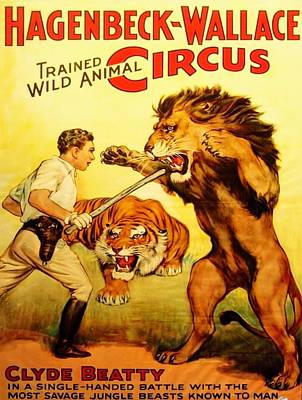 Digital Art - Modern Vintage Circus Poster by Kim Kent