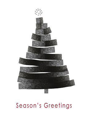 Christmas Greeting Mixed Media - Modern Winter Tree- Season's Greetings Art By Linda Woods by Linda Woods