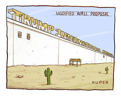 Drawing - Modified Wall Proposal by Peter Kuper