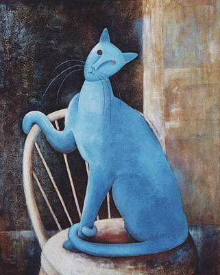 Parody Painting - Modigliani's Cat by Eve Riser Roberts