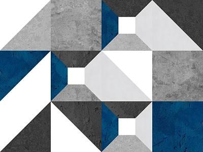 Modular Block Blue Art Print by Daniel Perfeito