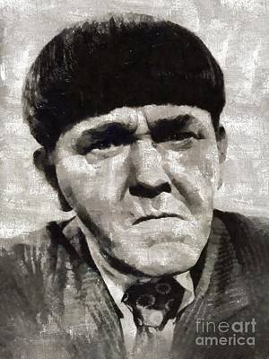Television Stars Painting - Moe Howard, Vintage Entertainer by Mary Bassett