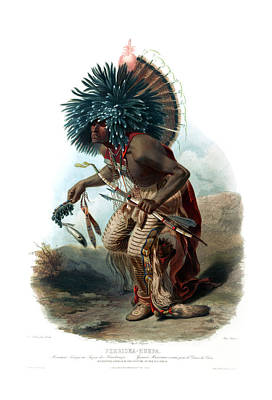 Painting - Moenitarri Warrior In The Costume Of The Dog Wall Art Prints by Karl Bodmer
