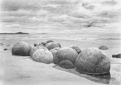 Drawing - Moeraki Boulders by Nolan Clark