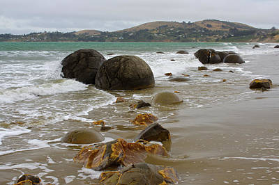 Photograph - Moeraki Boulders, Otago, New Zealand by Venetia Featherstone-Witty