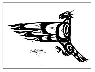Mohawk Eagle Black Art Print by Speakthunder Berry
