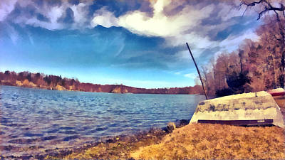 Art Print featuring the painting Mohegan Lake Lonely Boat by Derek Gedney