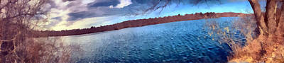 Art Print featuring the painting Mohegan Lake Panoramic Lake by Derek Gedney