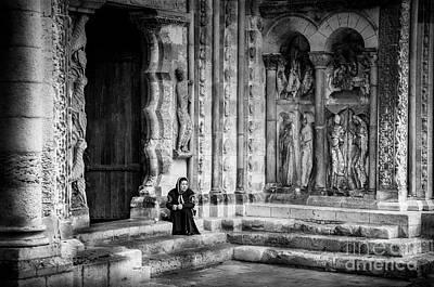 Photograph - Moissac Abbey Entrance Bw by RicardMN Photography