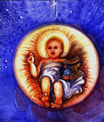 Painting - Moja Perelko - Infant Jesus And Pearl by Elle Smith Fagan