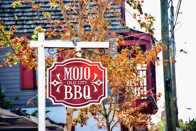 Photograph - Mojo Old City Bbq Sign by Gina O'Brien