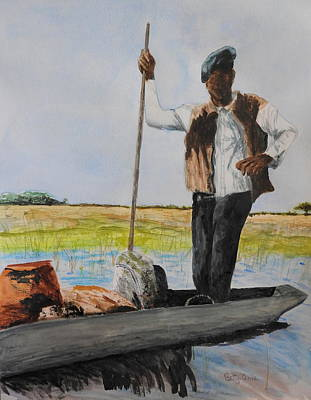 Painting - Mokoro Driver by Betty-Anne McDonald
